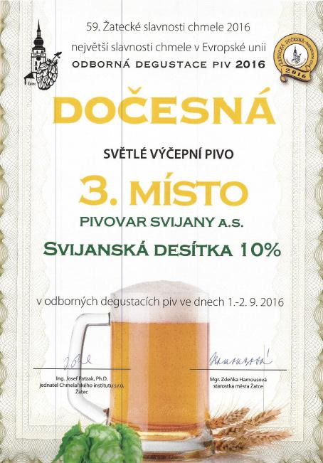 Svijanská desítka - diplom Dočesná